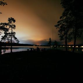 Lakepark by Juliusz Wilczynski - City,  Street & Park  Vistas ( sweden, umeå, lake, nightscape )