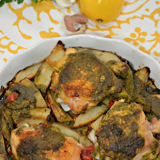 Baked Chicken Thighs with Moroccan Chermoula Sauce