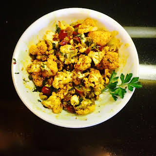 Indian Inspired Spicy Cauliflower with Pistachios and Grapes.