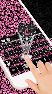 Pink Glitter Leopard Keyboard - náhled