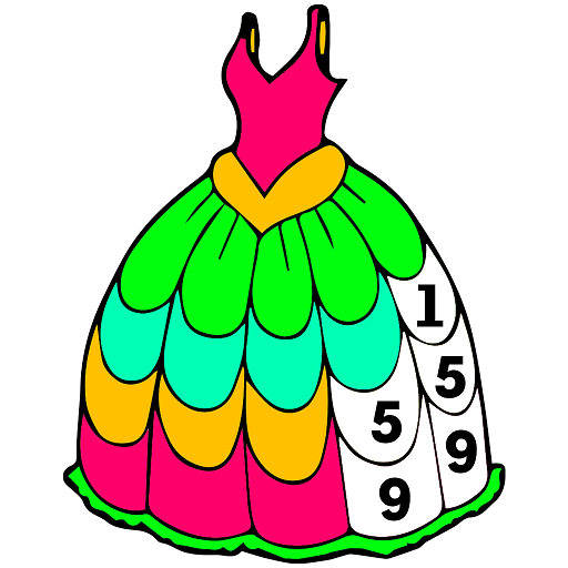 Girls Dress Color by Number: Fashion Coloring Book Icon