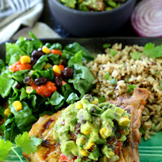 Cilantro Lime Grilled Pork Chops With Southwestern Guacamole.