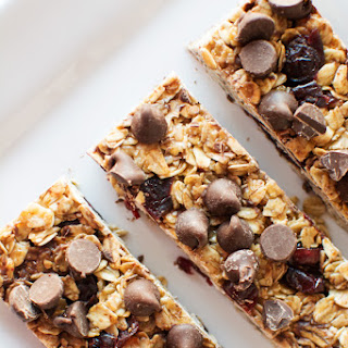 No Bake Granola Bars with Chocolate Chips and Cranberries