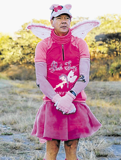 Mike Webb, also known as The Pink Fairy has, to date, raised over R300000 for the King William's Town SPCA, by running the Comrades Marathon dressed in pink, complete with fairy wings.