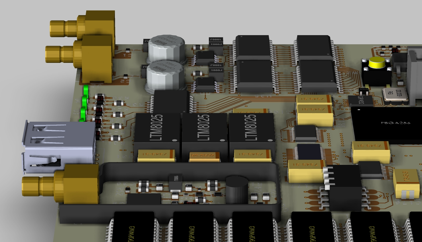 Printed circuit board with analog components ready for further design work