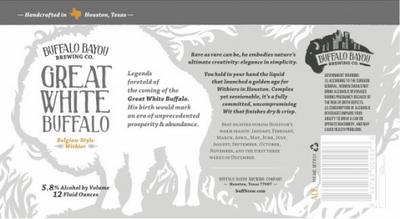 Logo of Buffalo Bayou Great White Buffalo