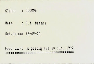 Photo: Lidmaatschapskaart 1991 - 1992 (achterkant)
