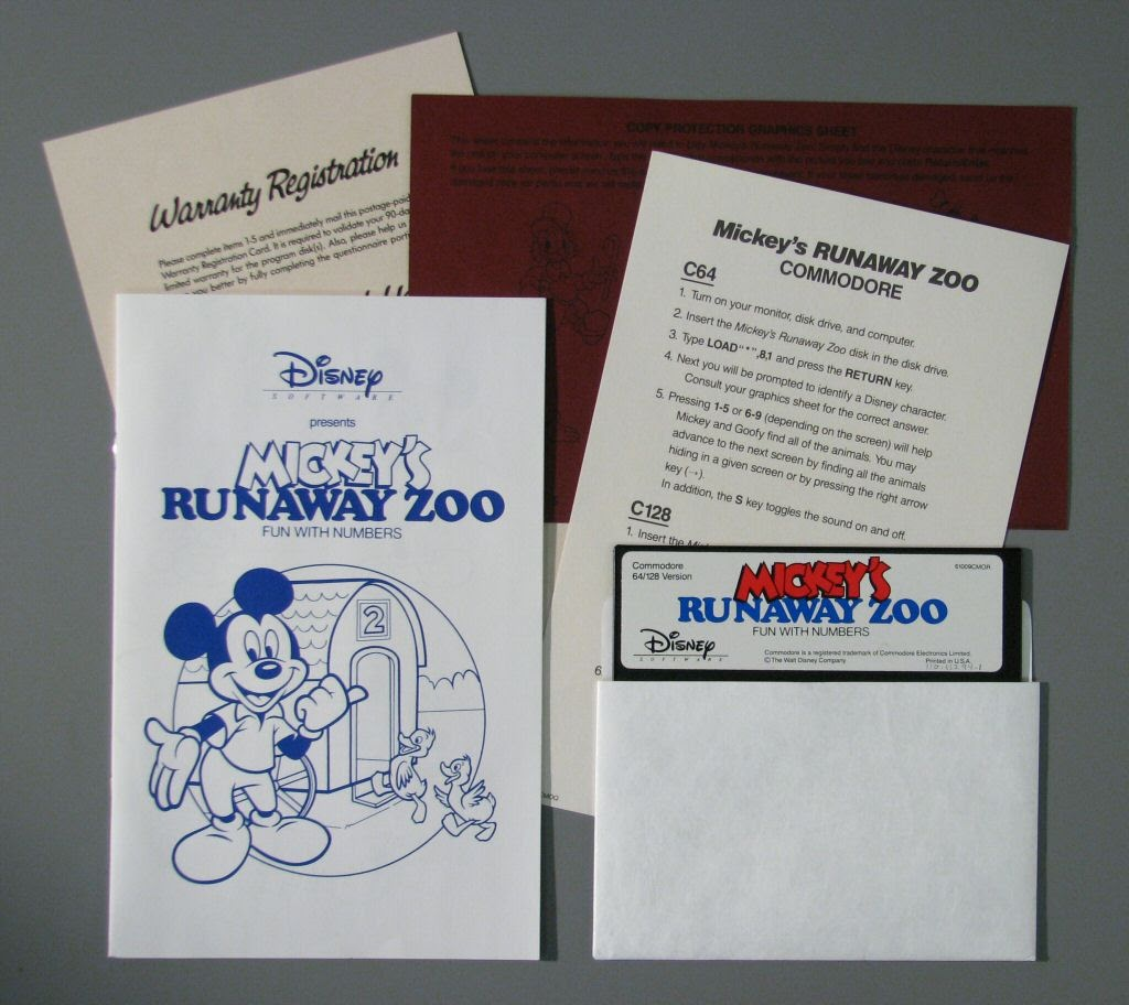 Video game:Commodore 64 Mickey's Runaway Zoo: Fun With Numbers