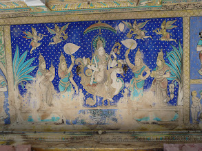 Photo: Melsithamur Jain temple- Ceiling Painting  Jain Goddess of Agam-Saraswathi
