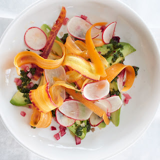 Avocado with Radish and Carrot and Pickled Onion