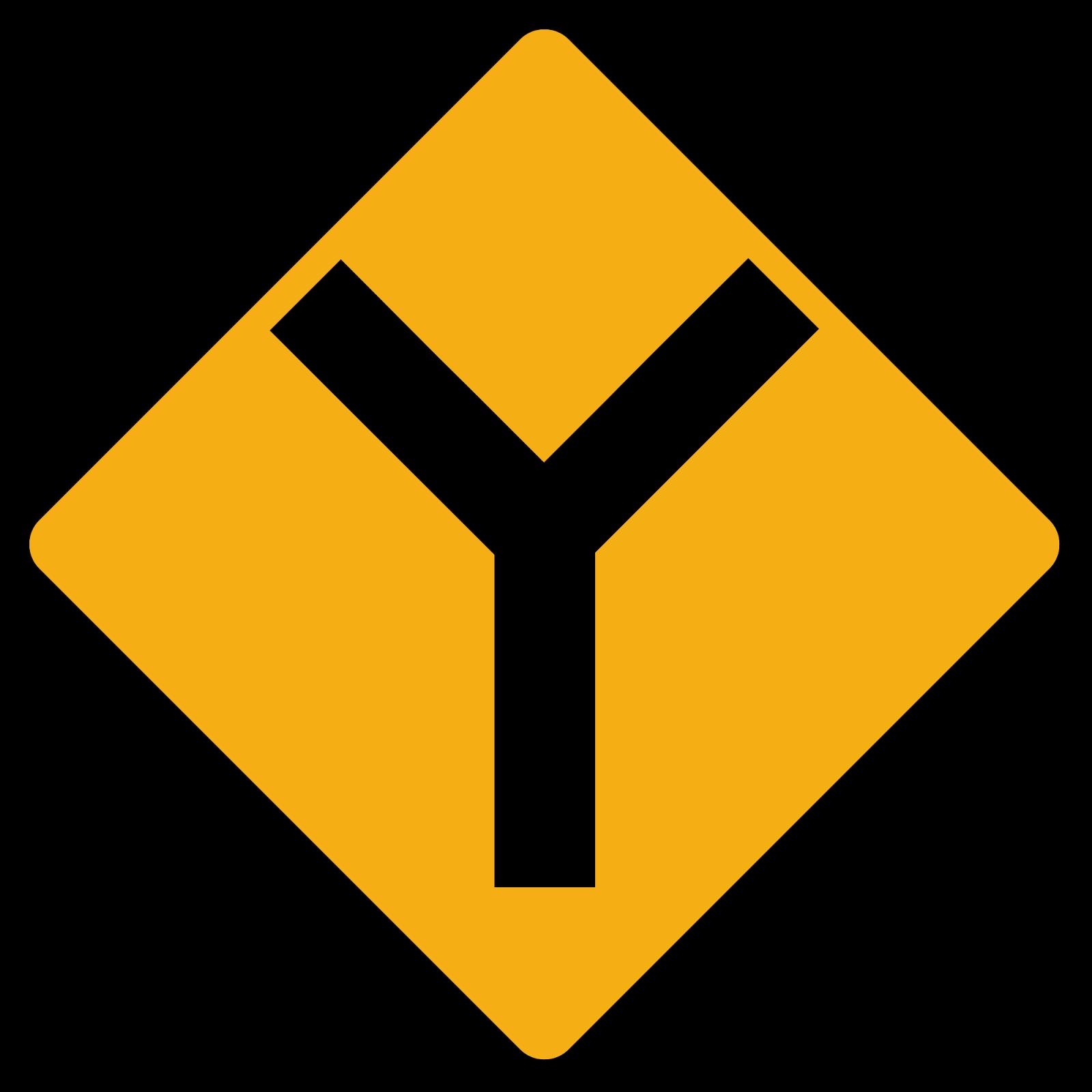 Diamond road sign Y junction. ...