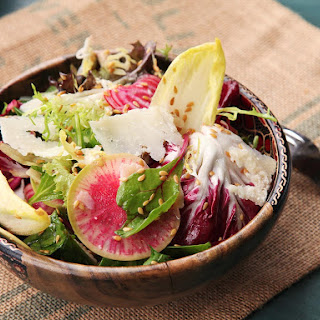 Winter Greens Salad with Flax Seeds, Shaved Beets, and Radishes Recipe