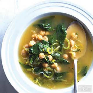 Chickpea, Leek & Spinach Soup.