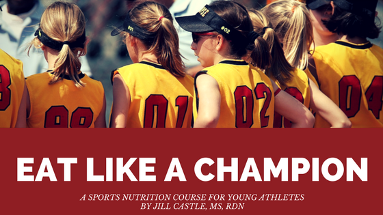 Girls softball team -- cover for Eat Like a Champion sports nutrition class for young athletes.