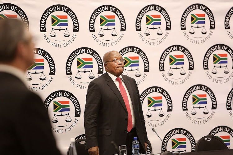 Former president Jacob Zuma at the state capture inquiry, where he is testifying, in Parktown, Johannesburg, on July 15 2019.