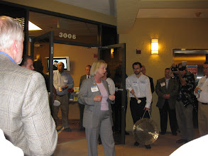 Photo: Sandy Adams speaking at the Mercantile Capital Corporation's Open House www.504Experts.com