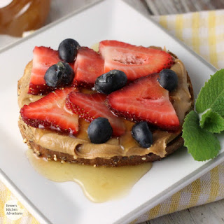 Peanut Butter Toast with Berries and Honey.