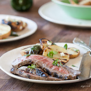 Grilled Flank Steak with Cilantro Balsamic Marinade.