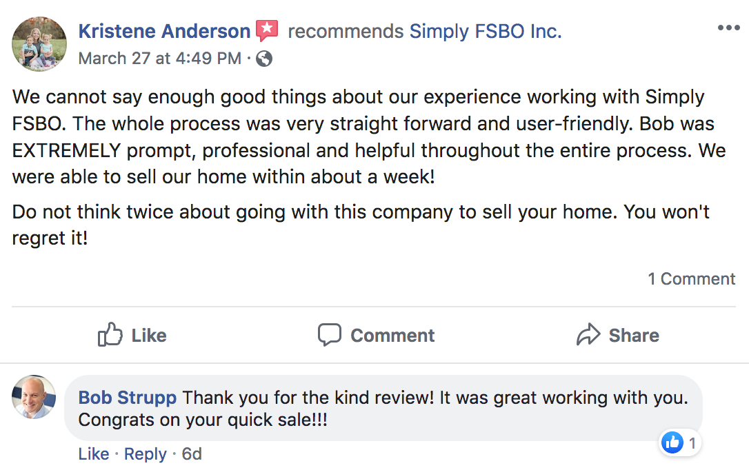 Simply FSBO Facebook Review