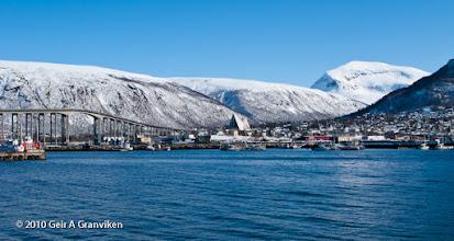 Photo: Tromsøysund bridge, Tromsdalen church and Tromsdalstinden