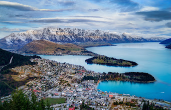 Photo: Here's Queenstown yesterday afternoon. I went up to the top here with +Cliff Baise(a great Arcanum Master!) while we waited on a sunset... a good sunset never happened, but we still had a good time! The full-rez version is only here on Google+, btw. If you pop over to Cliff, you can see what this looked like at night.