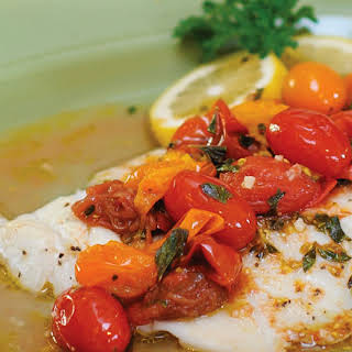 Grilled Tilapia Fillets with Warm Tomato & Herb Sauce.