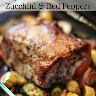 Pork Tenderloin with Zucchini and Red Peppers.