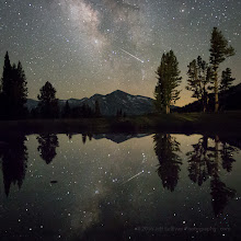 Photo: Delta Aquarid meteor reflected with Milky Way