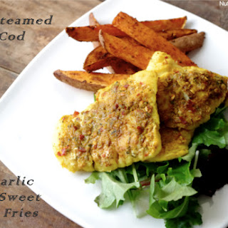 Lime Steamed Curry Cod & Chili Garlic Baked Sweet Potato Fries Recipe
