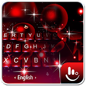 Live 3D Sparkling Red Star Keyboard Theme