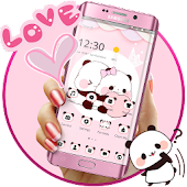 Pink Cute Panda Lovers Theme