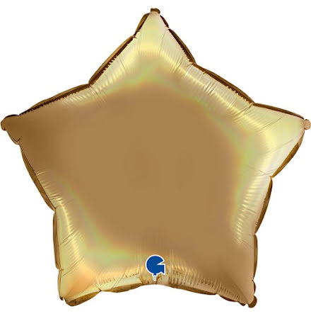 Folieballong Stjärna Rainbow - platinum champagne, 46 cm