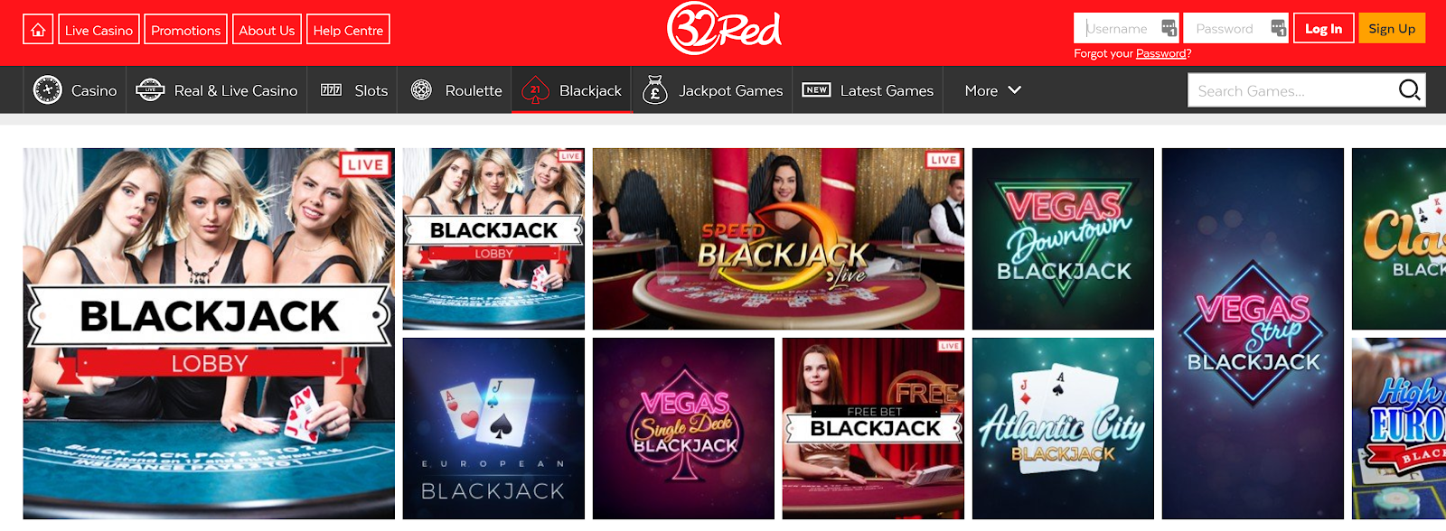 32Red is a great online casino for playing live blackjack games