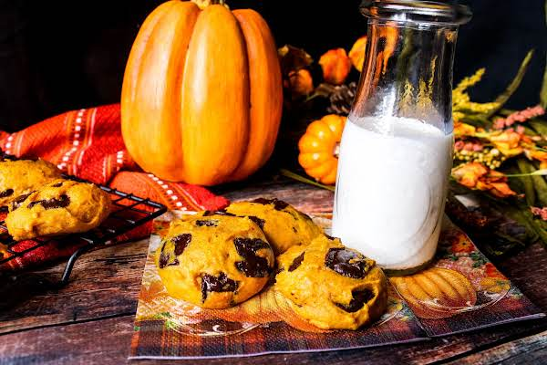 Pumpkin Chocolate Chunk Cookies Ready To Be Enjoyed.