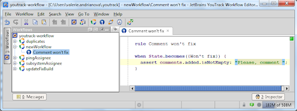 Photo: YouTrack Workflow Editor. An example of workflow rule.