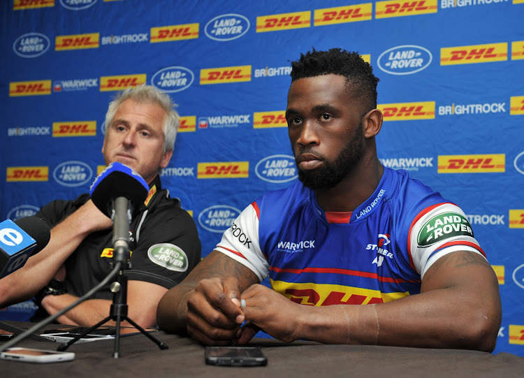 The DHL Stormers captain Siya Kolisi alongside his coach Robie Fleck during the team's pre-match press conference at Newlands Rugby Stadium on May 10 2018.