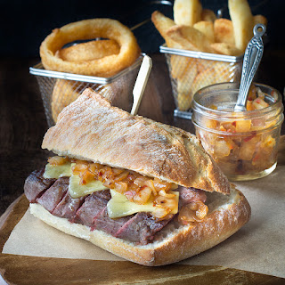 Steak & Cheese Sandwich with Spicy Onion Relish.
