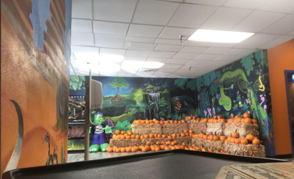 Pumpkins inside The Tye-Dyed Iguana