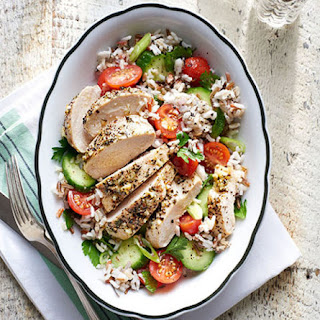 Greek Chicken with Rice and Tomato Salad.