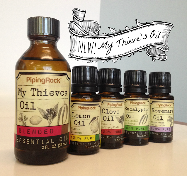 Photo: You asked, and once again we delivered.  New to the Piping Rock essential oils collection, introducing our My Thieve's Oil blend! One of the most popular blends in aromatherapy, Thieve's Oil is renowned for its cleansing properties for your health and home.** It's history stretches back to the Dark Ages, when it was used by thieves to support their immune system when looting houses!**  You can learn more & order your Thieve's Oil here: bit.ly/1rU5s48  #essentialoils #aromatherapy #thievesoil #pipingrock #lemonoil #cloveoil #eucalyptusoil #rosemaryoil