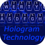 Blue Hologram Technology Keyboard Icon