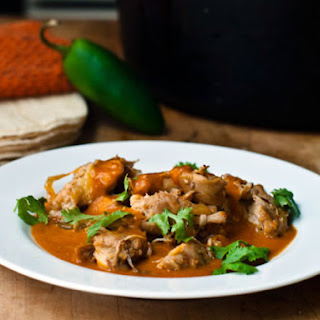 Chicken with Tomatillo and Red Chile Sauce.