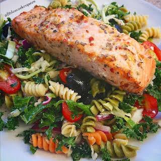 Greek Marinaded Salmon & Greek Pasta Salad w/Kale.