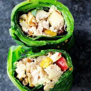 Pistachio Chicken Salad Collard Green Wraps.