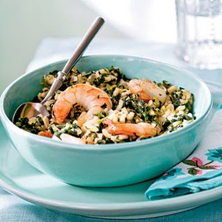 Spinach Risotto with Shrimp and Goat Cheese.