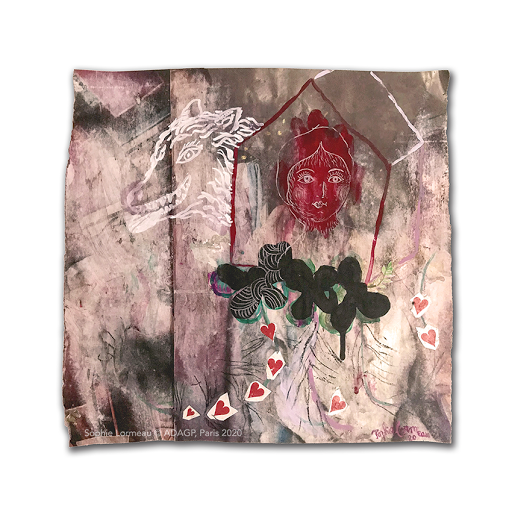 la_maison_qui_pleure_ombre_invisible_sophie_lormeau_painting_french_woman_artis_paris_france_colorful_singulart_figurative_collage_mixed_media_paper_fairy_tail_wood_red_portrait_lover_cry_tears_home_wolf_copyrigth_adagp_2020_©