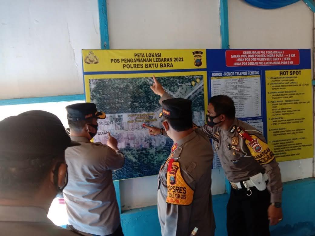 Cek Pos PAM Kesiagaan Larangan Mudik Wilayah Hukum Polres Batu Bara