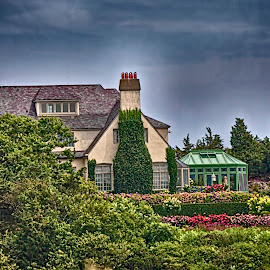 Ocean Rd. Newport, RI by Sandy Friedkin - Buildings & Architecture Homes ( flowers, shrubs, landscape, home, architecture,  )