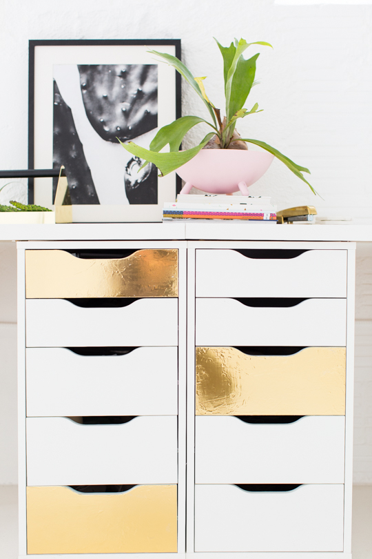 Faux Gold Desk Drawers: 20 Cheap IKEA Hacks For The Home will help you save maney and transform your space.