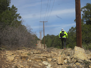 Photo: Started taking pictures on the out section of the Powerline, Kevin leading the way. It was Hot and rocky!